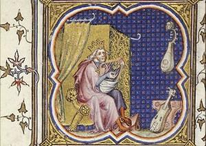 David joue de la Harpe (Comestor Bible historiale)